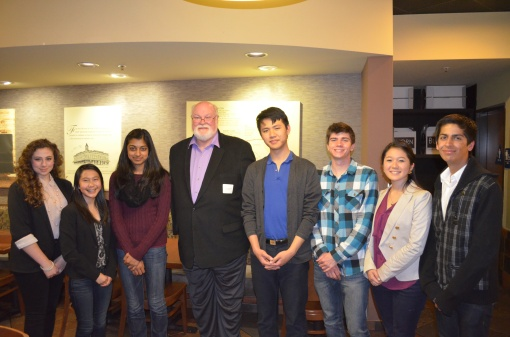 MAP students having dinner with Senator Jim Beall