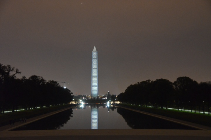 Beautiful scene overlooking the Reflecting Pool and Washington Monument