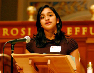 Sruthi addressing Catholic Lobby Day in Sacramento, 2010.